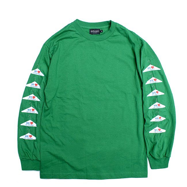 <img class='new_mark_img1' src='//img.shop-pro.jp/img/new/icons5.gif' style='border:none;display:inline;margin:0px;padding:0px;width:auto;' />GRAND COLLECTION WE LOVE OUR CUSTOMER L/S TEE / GREEN (グランドコレクション/長袖Tシャツ)