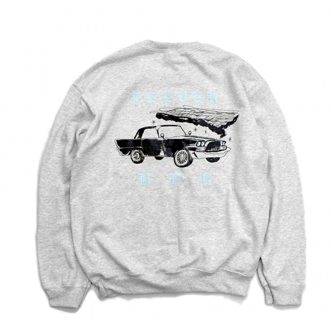 <img class='new_mark_img1' src='//img.shop-pro.jp/img/new/icons5.gif' style='border:none;display:inline;margin:0px;padding:0px;width:auto;' />FEEVERBUG CAR CLUB CREWNECK SWEAT / ASH (フィバーバグ クルーネック/スウェット)