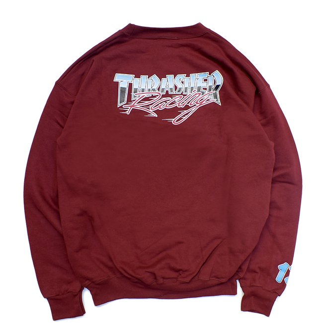 <img class='new_mark_img1' src='//img.shop-pro.jp/img/new/icons5.gif' style='border:none;display:inline;margin:0px;padding:0px;width:auto;' />THRASHER RACING CREWNECK / MAROON (スラッシャー クルーネックスウェット)