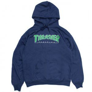 <img class='new_mark_img1' src='https://img.shop-pro.jp/img/new/icons5.gif' style='border:none;display:inline;margin:0px;padding:0px;width:auto;' />THRASHER OUTLINE HOODIE / NAVY BLUE (スラッシャー パーカー/スウェット)