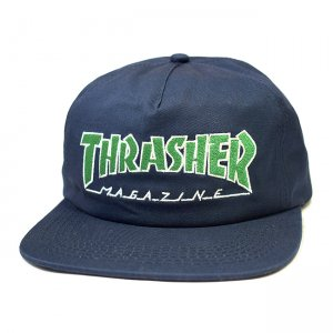 <img class='new_mark_img1' src='https://img.shop-pro.jp/img/new/icons5.gif' style='border:none;display:inline;margin:0px;padding:0px;width:auto;' />THRASHER OUTLINED SNAPBACK CAP / NAVY BLUE (スラッシャー 5パネルスナップバックキャップ)