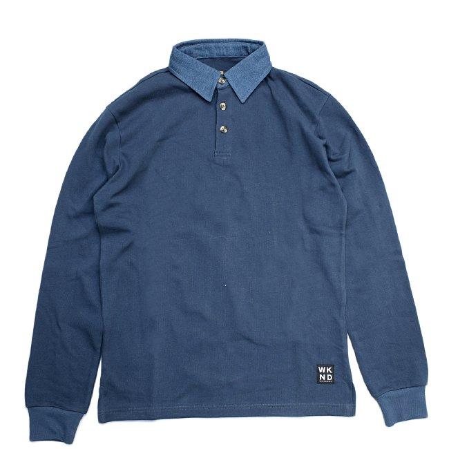 <img class='new_mark_img1' src='//img.shop-pro.jp/img/new/icons5.gif' style='border:none;display:inline;margin:0px;padding:0px;width:auto;' />WKND DENIM COLLAR RUGBY SHIRT (ウィークエンド ラガーシャツ/長袖シャツ)