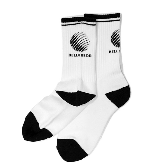 <img class='new_mark_img1' src='//img.shop-pro.jp/img/new/icons5.gif' style='border:none;display:inline;margin:0px;padding:0px;width:auto;' />HELLRAZOR LOGO SOCKS / WHITE (ヘルレイザー ソックス/靴下)