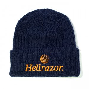 <img class='new_mark_img1' src='//img.shop-pro.jp/img/new/icons5.gif' style='border:none;display:inline;margin:0px;padding:0px;width:auto;' />HELLRAZOR TRADEMARK LOGO WATCH CAP / NAVY (ヘルレイザー ビーニー/ニットキャップ)
