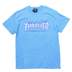 <img class='new_mark_img1' src='https://img.shop-pro.jp/img/new/icons5.gif' style='border:none;display:inline;margin:0px;padding:0px;width:auto;' />THRASHER FLAME LOGO TEE / SKY BLUE (スラッシャー ロゴTシャツ)