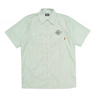 <img class='new_mark_img1' src='https://img.shop-pro.jp/img/new/icons5.gif' style='border:none;display:inline;margin:0px;padding:0px;width:auto;' />HORRIBLE'S RADIO S/S WORK SHIRT / WHITE×GREEN (ホリブルズ 半袖ワークシャツ)