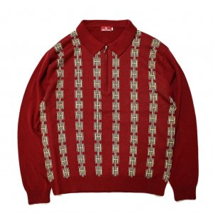 <img class='new_mark_img1' src='//img.shop-pro.jp/img/new/icons5.gif' style='border:none;display:inline;margin:0px;padding:0px;width:auto;' />Hellrazor Chain Half Zip Knit Sweater / Burgundy (ヘルレイザー ニットセーター)