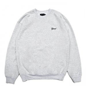 <img class='new_mark_img1' src='//img.shop-pro.jp/img/new/icons5.gif' style='border:none;display:inline;margin:0px;padding:0px;width:auto;' />GRAND COLLECTION GRAND SCRIPT PREMIUM CREWNECK SWEAT / HEATHER GREY (グランドコレクション スウェット/クルーネック)