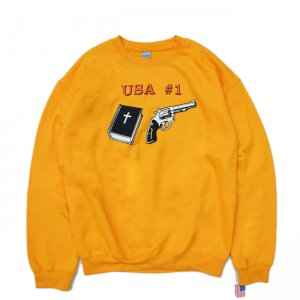 <img class='new_mark_img1' src='//img.shop-pro.jp/img/new/icons5.gif' style='border:none;display:inline;margin:0px;padding:0px;width:auto;' />DEAR, USA #1 CREWNECK SWEAT / GOLD (ディアー/ クルーネックスウェット)