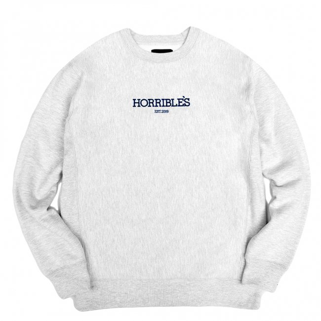 <img class='new_mark_img1' src='//img.shop-pro.jp/img/new/icons5.gif' style='border:none;display:inline;margin:0px;padding:0px;width:auto;' />HORRIBLE'S LOGO PREMIUM CREWNECK SWEAT / HEATHER GREY (ホリブルズ クルーネック スウェット)