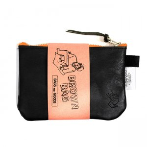 <img class='new_mark_img1' src='https://img.shop-pro.jp/img/new/icons5.gif' style='border:none;display:inline;margin:0px;padding:0px;width:auto;' />BROWNBAG Leather pouch / BLACK × ORANGE (ブラウンバッグ レザーポーチ)