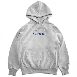 <img class='new_mark_img1' src='//img.shop-pro.jp/img/new/icons5.gif' style='border:none;display:inline;margin:0px;padding:0px;width:auto;' />SAYHELLO BASMATI LOGO EMBROIDERY HEAVY HOODIE / HEATHER GREY (セイハロー パーカー/スウェット)