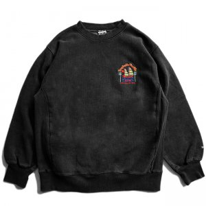 <img class='new_mark_img1' src='//img.shop-pro.jp/img/new/icons5.gif' style='border:none;display:inline;margin:0px;padding:0px;width:auto;' />SAYHELLO PACIFIC EMBROIDERY PIGMENT DYED HEAVY CREW SWEAT / FADE BLACK (セイハロー クルーネック/スウェット)