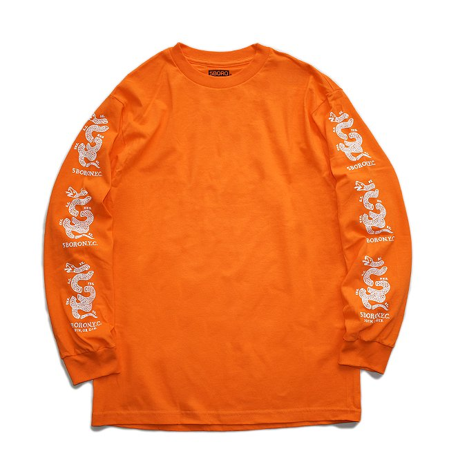 <img class='new_mark_img1' src='https://img.shop-pro.jp/img/new/icons5.gif' style='border:none;display:inline;margin:0px;padding:0px;width:auto;' />5BORO JOIN OR DIE SNAKE L/S TEE / ORANGE (ファイブボロ/ロングスリーブ Tシャツ)