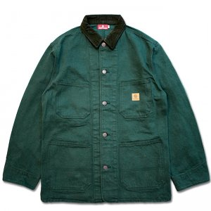 <img class='new_mark_img1' src='https://img.shop-pro.jp/img/new/icons5.gif' style='border:none;display:inline;margin:0px;padding:0px;width:auto;' />HELLRAZOR PLATINUM PAINTER DENIM JACKET / GREEN (ヘルレイザー デニムカバーオールジャケット)