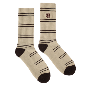 <img class='new_mark_img1' src='https://img.shop-pro.jp/img/new/icons55.gif' style='border:none;display:inline;margin:0px;padding:0px;width:auto;' />THEORIES LANTERN STRIPE CREW SOCKS / SAND × BROWN (セオリーズ  ソックス/靴下)