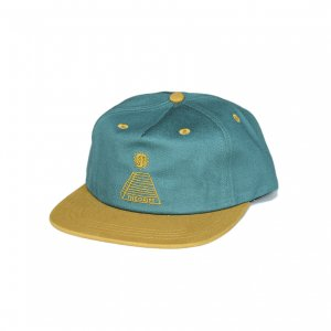 <img class='new_mark_img1' src='//img.shop-pro.jp/img/new/icons5.gif' style='border:none;display:inline;margin:0px;padding:0px;width:auto;' />THEORIES SCRIBLE PYRAMID SNAPBACK CAP / EVERGREEN × MUSTARD (セオリーズ 5パネルスナップバックキャップ)