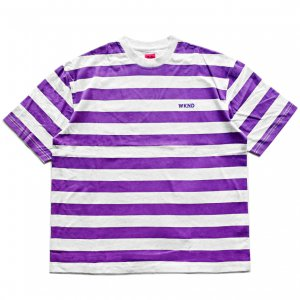 <img class='new_mark_img1' src='https://img.shop-pro.jp/img/new/icons5.gif' style='border:none;display:inline;margin:0px;padding:0px;width:auto;' />WKND STRIPE TEE / GREY & PURPLE (ウィークエンド Tシャツ)
