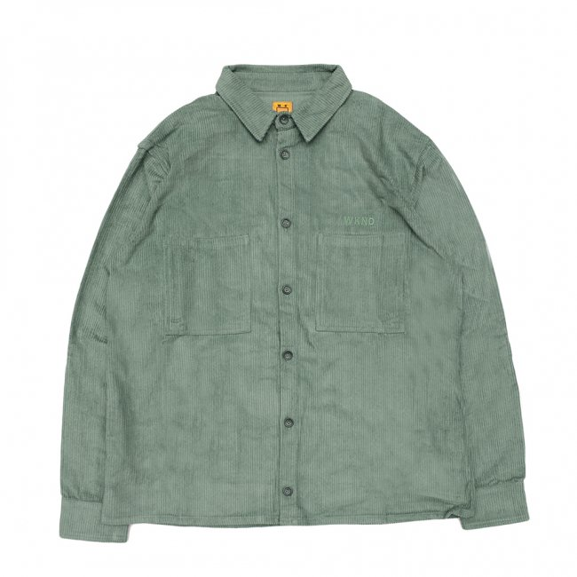 <img class='new_mark_img1' src='https://img.shop-pro.jp/img/new/icons5.gif' style='border:none;display:inline;margin:0px;padding:0px;width:auto;' />WKND MAJOR CORD BUTTON SHIRT/ FOREST GREEN (ウィークエンド コーデュロイ長袖シャツ)