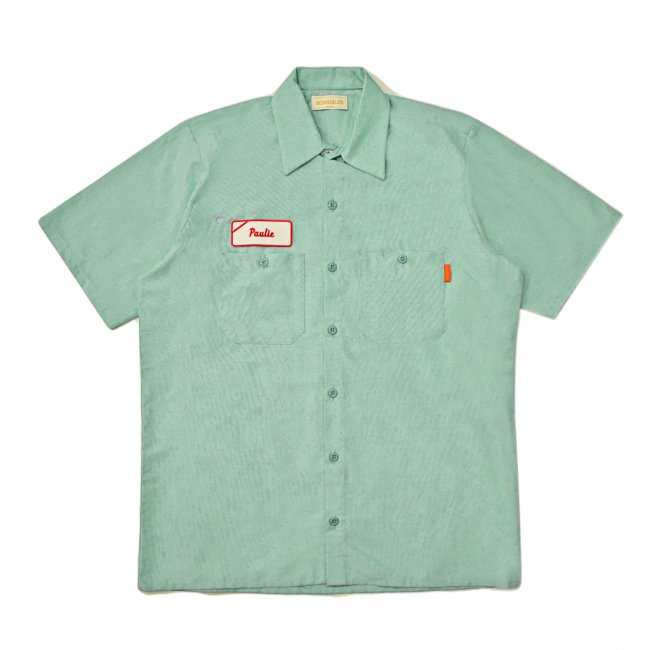 <img class='new_mark_img1' src='https://img.shop-pro.jp/img/new/icons5.gif' style='border:none;display:inline;margin:0px;padding:0px;width:auto;' />HORRIBLE'S LOVE Paulie S/S WORK SHIRT / LIGHT GREEN (ホリブルズ 半袖ワークシャツ)