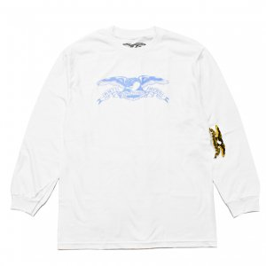 <img class='new_mark_img1' src='https://img.shop-pro.jp/img/new/icons5.gif' style='border:none;display:inline;margin:0px;padding:0px;width:auto;' />ANTIHERO BASIC EAGLE L/S T-SHIRT / WHITE (アンチヒーロー/ Tシャツ)