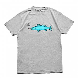 <img class='new_mark_img1' src='https://img.shop-pro.jp/img/new/icons5.gif' style='border:none;display:inline;margin:0px;padding:0px;width:auto;' />Good Worth & Co. SMOKING FISH TEE / HEATHER GREY (グッドワース Tシャツ)