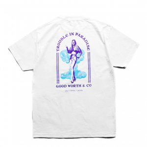 <img class='new_mark_img1' src='https://img.shop-pro.jp/img/new/icons5.gif' style='border:none;display:inline;margin:0px;padding:0px;width:auto;' />Good Worth & Co. TROUBLE IN PARADISE TEE / WHITE (グッドワース Tシャツ)