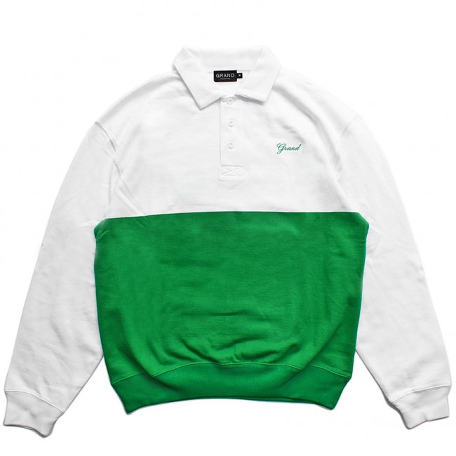 <img class='new_mark_img1' src='https://img.shop-pro.jp/img/new/icons5.gif' style='border:none;display:inline;margin:0px;padding:0px;width:auto;' />GRAND COLLECTION COLLAR CREWNECK / WHITE × KELLY GREEN (グランドコレクション スウェット/パーカー)