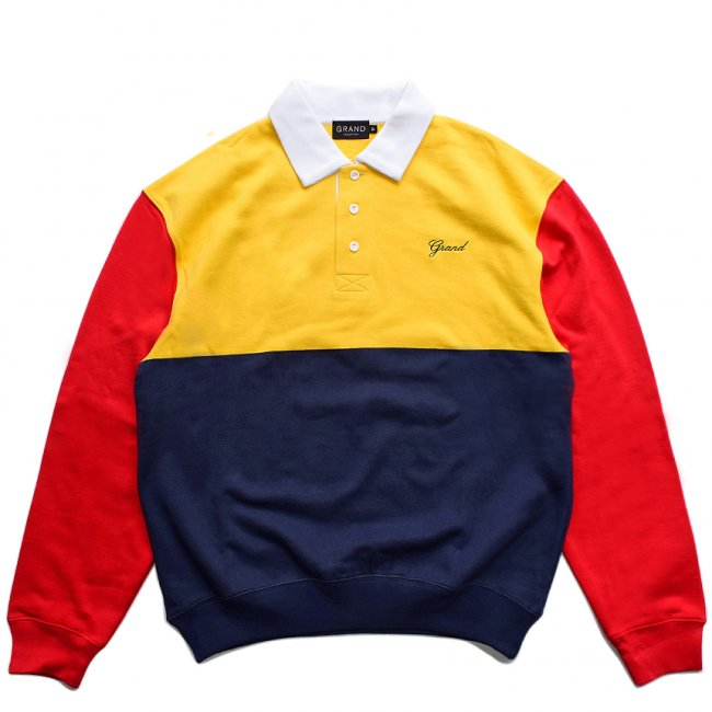 <img class='new_mark_img1' src='https://img.shop-pro.jp/img/new/icons5.gif' style='border:none;display:inline;margin:0px;padding:0px;width:auto;' />GRAND COLLECTION COLLAR CREWNECK / NAVY × RED × YELLOW (グランドコレクション スウェット/パーカー)