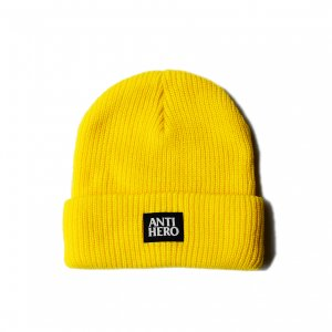 <img class='new_mark_img1' src='https://img.shop-pro.jp/img/new/icons5.gif' style='border:none;display:inline;margin:0px;padding:0px;width:auto;' />ANTIHERO LIL BLACKHERO CUFF YELLOW BEANIE / YELLOW (アンチヒーロー/ キャップ)