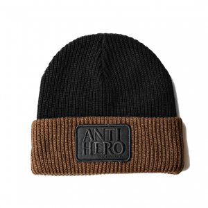 <img class='new_mark_img1' src='https://img.shop-pro.jp/img/new/icons5.gif' style='border:none;display:inline;margin:0px;padding:0px;width:auto;' />ANTIHERO RESERVE PATCH CUFF BEANIE /BLACK / BROWN(アンチヒーロー/ キャップ)