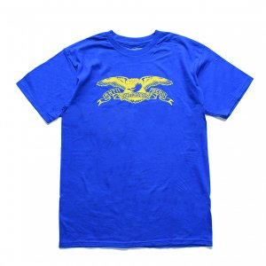 <img class='new_mark_img1' src='https://img.shop-pro.jp/img/new/icons5.gif' style='border:none;display:inline;margin:0px;padding:0px;width:auto;' />ANTIHERO BASIC EAGLE T-SHIRT / ROYAL / YELLOW(アンチヒーロー/ Tシャツ)