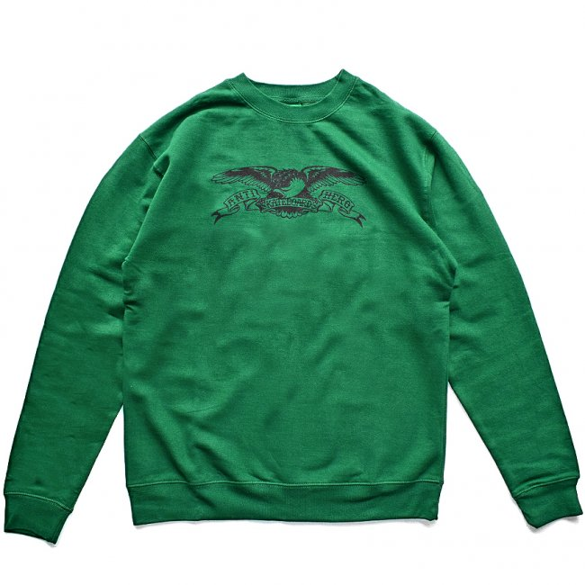 <img class='new_mark_img1' src='https://img.shop-pro.jp/img/new/icons5.gif' style='border:none;display:inline;margin:0px;padding:0px;width:auto;' />ANTIHERO BASIC EAGLE SWEATSHIRT / DARK GREEN / BLACK (アンチヒーロー/ クルーネック)