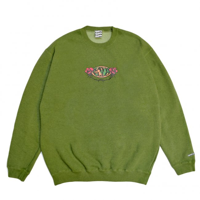 <img class='new_mark_img1' src='https://img.shop-pro.jp/img/new/icons5.gif' style='border:none;display:inline;margin:0px;padding:0px;width:auto;' />SAYHELLO HARD ROCK PIGMENT DYED SWEAT / DARK GREEN(セイハロー クルーネック/スウェット)