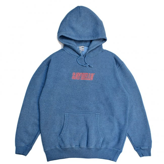 <img class='new_mark_img1' src='https://img.shop-pro.jp/img/new/icons5.gif' style='border:none;display:inline;margin:0px;padding:0px;width:auto;' />SAYHELLO FLAME LOGO EMBROIDERY PIGMENT DYED HOODIE / MID NIGHT (セイハロー パーカー/スウェット)
