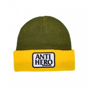 <img class='new_mark_img1' src='https://img.shop-pro.jp/img/new/icons5.gif' style='border:none;display:inline;margin:0px;padding:0px;width:auto;' />ANTIHERO RESERVE PATCH CUFF BEANIE /OLIVE / YELLOW(アンチヒーロー/ キャップ)