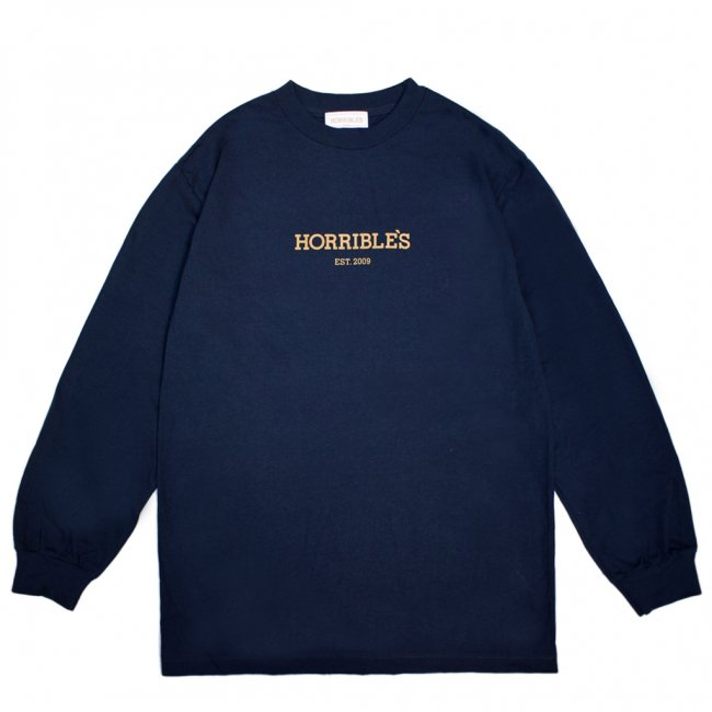<img class='new_mark_img1' src='https://img.shop-pro.jp/img/new/icons5.gif' style='border:none;display:inline;margin:0px;padding:0px;width:auto;' />HORRIBLE'S LOGO L/S T-SHIRT / NAVY (ホリブルズ 長袖 /ロングスリーブ Tシャツ)