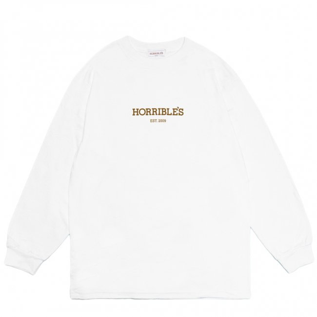 <img class='new_mark_img1' src='https://img.shop-pro.jp/img/new/icons5.gif' style='border:none;display:inline;margin:0px;padding:0px;width:auto;' />HORRIBLE'S LOGO L/S T-SHIRT / WHITE (ホリブルズ 長袖 /ロングスリーブ Tシャツ)