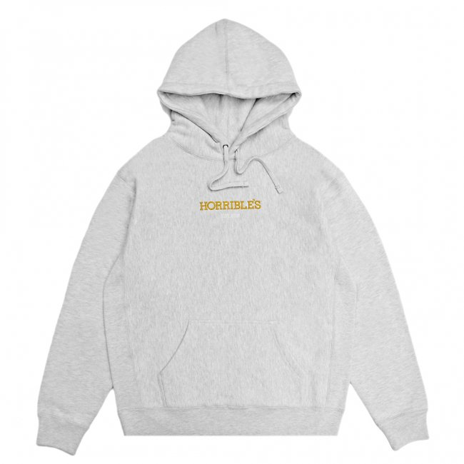 <img class='new_mark_img1' src='https://img.shop-pro.jp/img/new/icons5.gif' style='border:none;display:inline;margin:0px;padding:0px;width:auto;' />HORRIBLE'S LOGO PREMIUM HOODED SWEAT SHIRT / HEATHER GREY (ホリブルズ パーカー スウェット)