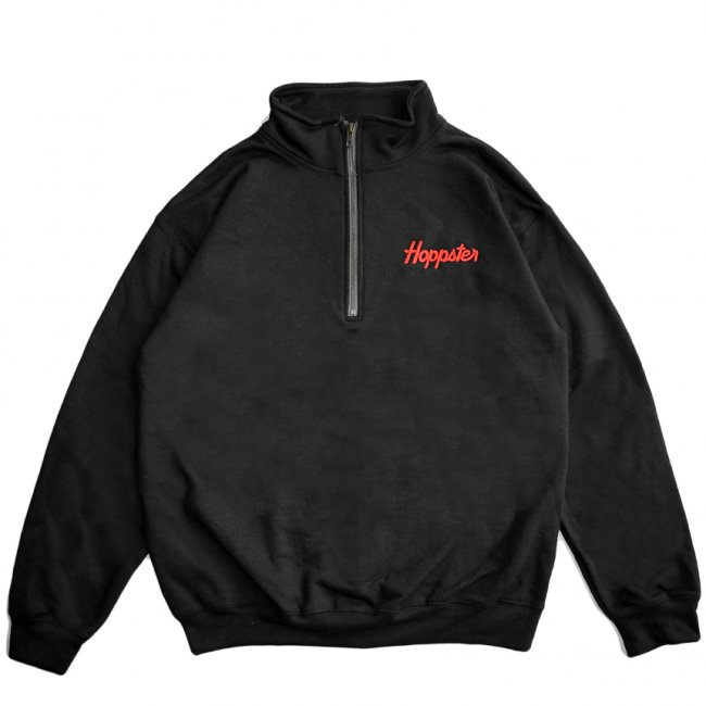 <img class='new_mark_img1' src='https://img.shop-pro.jp/img/new/icons5.gif' style='border:none;display:inline;margin:0px;padding:0px;width:auto;' />HOPPS HOPPSTER QUARTER ZIP SWEAT / BLACK (ホップス スウェット)