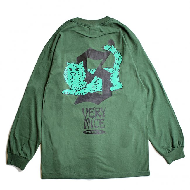<img class='new_mark_img1' src='https://img.shop-pro.jp/img/new/icons5.gif' style='border:none;display:inline;margin:0px;padding:0px;width:auto;' />SAYHELLO CATTY L/S TEE / FOREST GREEN (セイハロー  ロングスリーブTシャツ/ロンT)