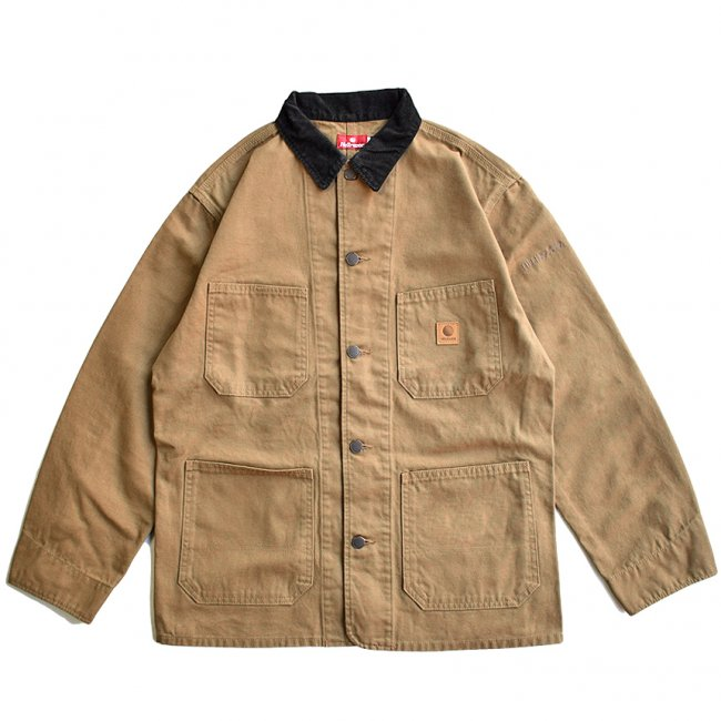 <img class='new_mark_img1' src='https://img.shop-pro.jp/img/new/icons5.gif' style='border:none;display:inline;margin:0px;padding:0px;width:auto;' />HELLRAZOR PLATINUM PAINTER JACKET / BEIGE BROWN (ヘルレイザー デニムカバーオールジャケット)