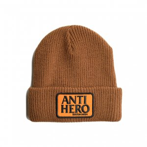 <img class='new_mark_img1' src='https://img.shop-pro.jp/img/new/icons5.gif' style='border:none;display:inline;margin:0px;padding:0px;width:auto;' />ANTIHERO RESERVE PATCH CUFF BEANIE / BROWN/ORANGE (アンチヒーロー/ キャップ)