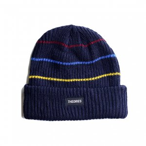 <img class='new_mark_img1' src='https://img.shop-pro.jp/img/new/icons5.gif' style='border:none;display:inline;margin:0px;padding:0px;width:auto;' />THEORIES THIN STRIPE BEANIE / NAVY(セオリーズ ビーニー/ニットキャップ)