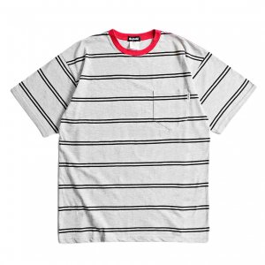 <img class='new_mark_img1' src='https://img.shop-pro.jp/img/new/icons1.gif' style='border:none;display:inline;margin:0px;padding:0px;width:auto;' />SAYHELLO Trim Border Pocket TEE / GREY/RED (セイハロー / ボーダーTシャツ)