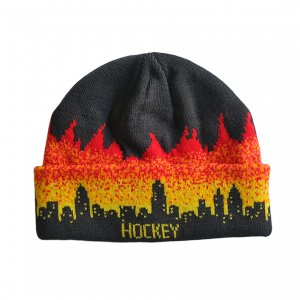 <img class='new_mark_img1' src='https://img.shop-pro.jp/img/new/icons5.gif' style='border:none;display:inline;margin:0px;padding:0px;width:auto;' />HOCKEY LIGHTS OUT BEANIE / BLACK x FIRE (ホッキー ビーニー/ニットキャップ)