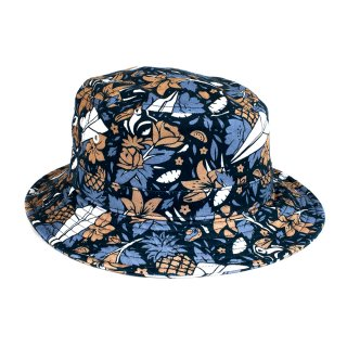 【70%OFF】BENNY GOLD ALOHA ALL-OVER PATTERN BUCKET HAT / NAVY  (ベニーゴールド 5パネルジェットキャップ)