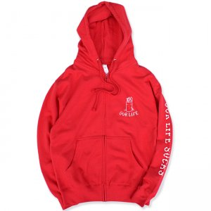 <img class='new_mark_img1' src='//img.shop-pro.jp/img/new/icons5.gif' style='border:none;display:inline;margin:0px;padding:0px;width:auto;' />OUR LIFE BURN BARREL 3PRINT ZIP HOODIE / RED (アワーライフ ジップフーディ/パーカー)