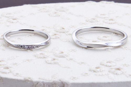 結婚指輪 プラチナ 7万円台 幸せが訪れる結婚指輪ピンクドルフィンダイアモンド
