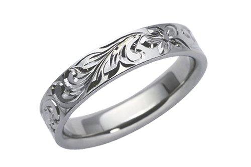ハワイアン鍛造指輪 プリンセス彫 4mm幅